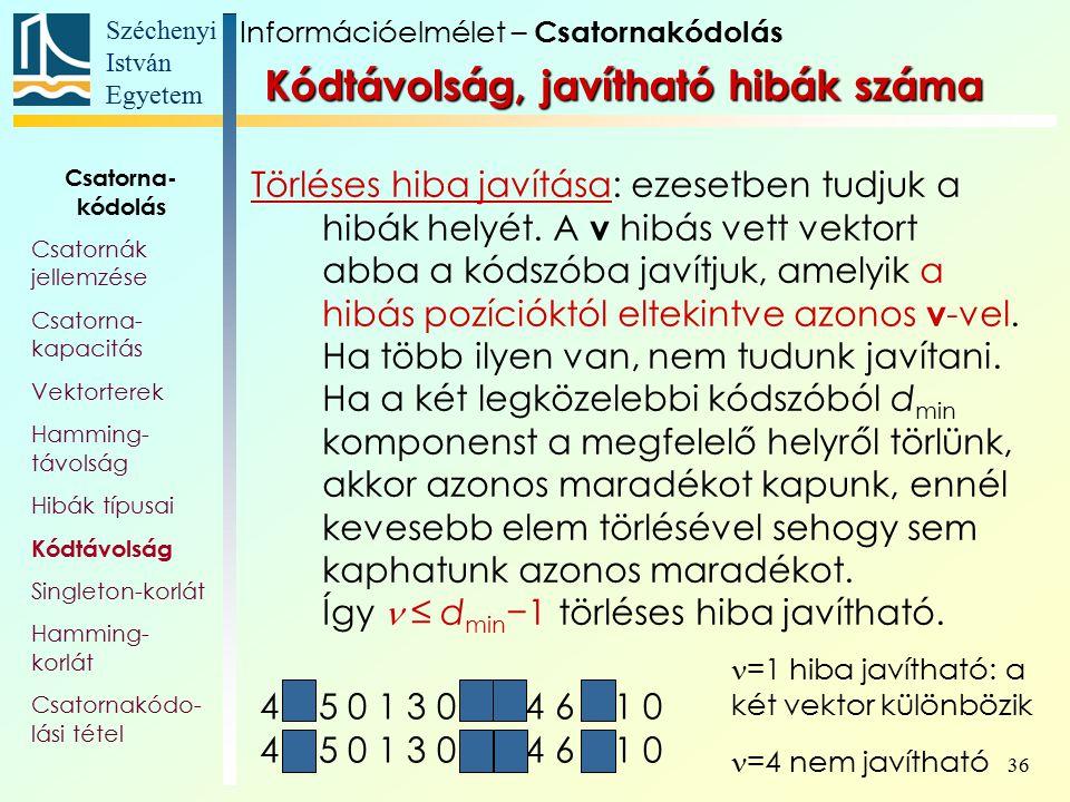Széchenyi István Egyetem 36 4 2 5 0 1 3 0 3 1 4 6 5 1 0 4 1 5 0 1 3 0 4 0 4 6 3 1 0 Kódtávolság, javítható hibák száma Törléses hiba javítása: ezesetb