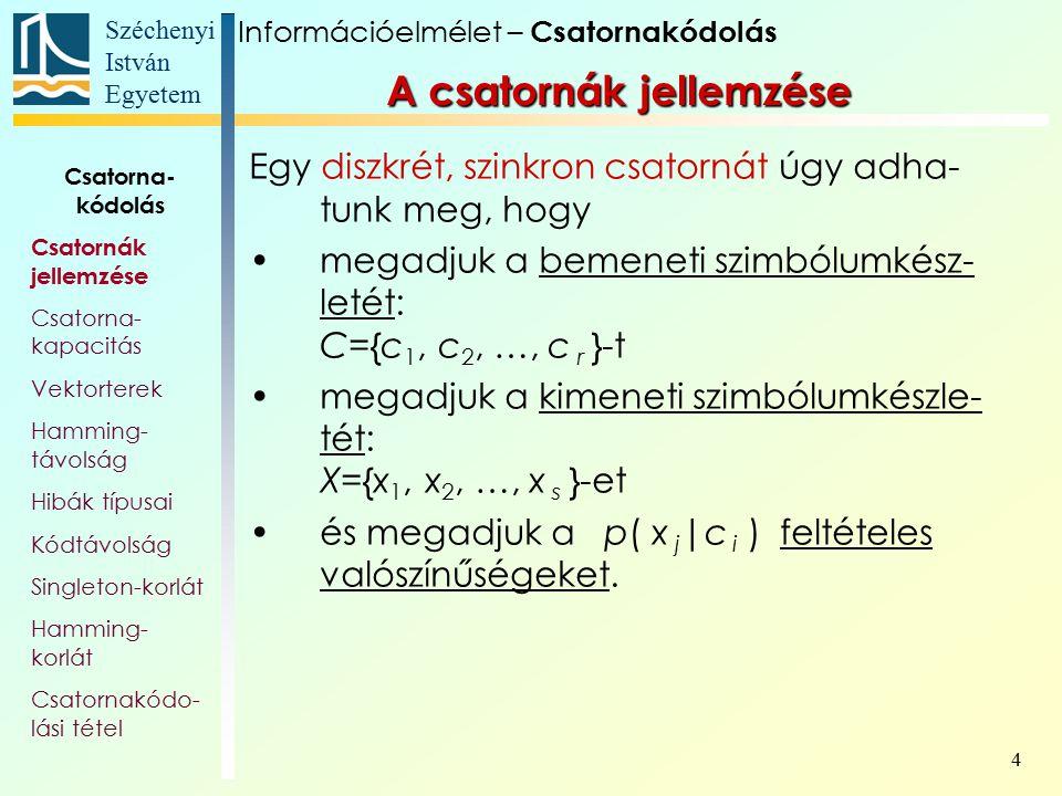 Széchenyi István Egyetem 4 Egy diszkrét, szinkron csatornát úgy adha- tunk meg, hogy megadjuk a bemeneti szimbólumkész- letét: C={c 1, c 2, …, c r }-t