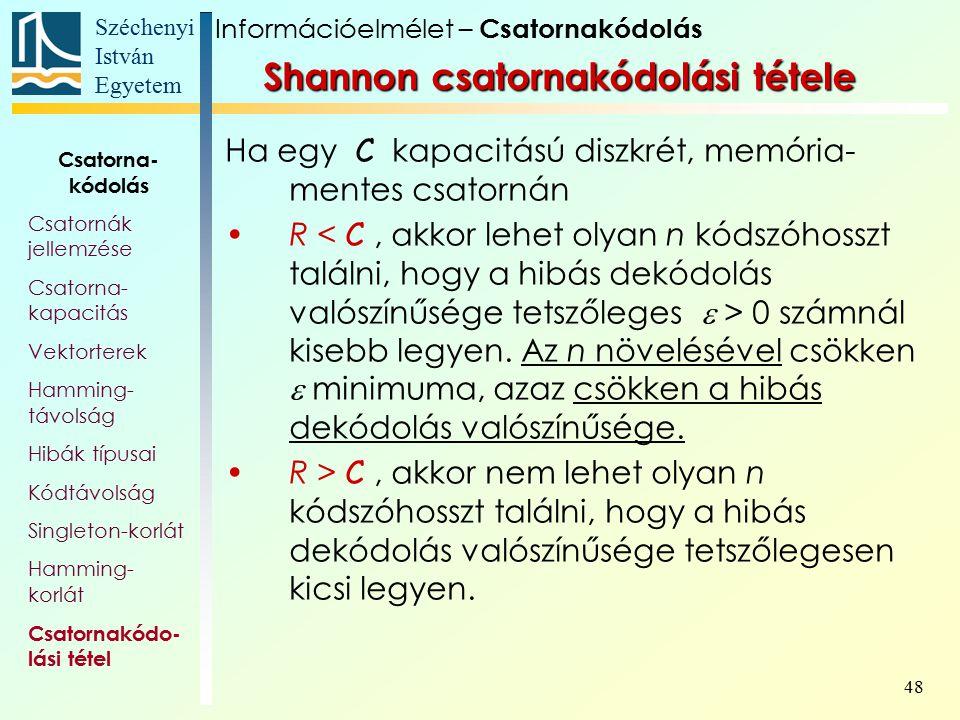 Széchenyi István Egyetem 48 Shannon csatornakódolási tétele Ha egy C kapacitású diszkrét, memória- mentes csatornán R 0 számnál kisebb legyen. Az n nö