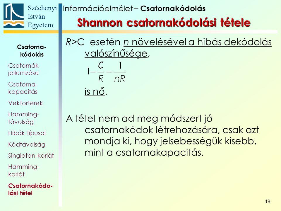Széchenyi István Egyetem 49 Shannon csatornakódolási tétele R>C esetén n növelésével a hibás dekódolás valószínűsége, is nő. A tétel nem ad meg módsze