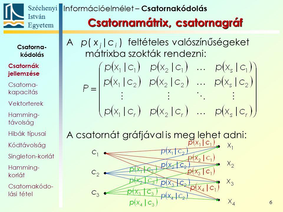Széchenyi István Egyetem 6 Csatornamátrix, csatornagráf A p( x j |c i ) feltételes valószínűségeket mátrixba szokták rendezni: A csatornát gráfjával i