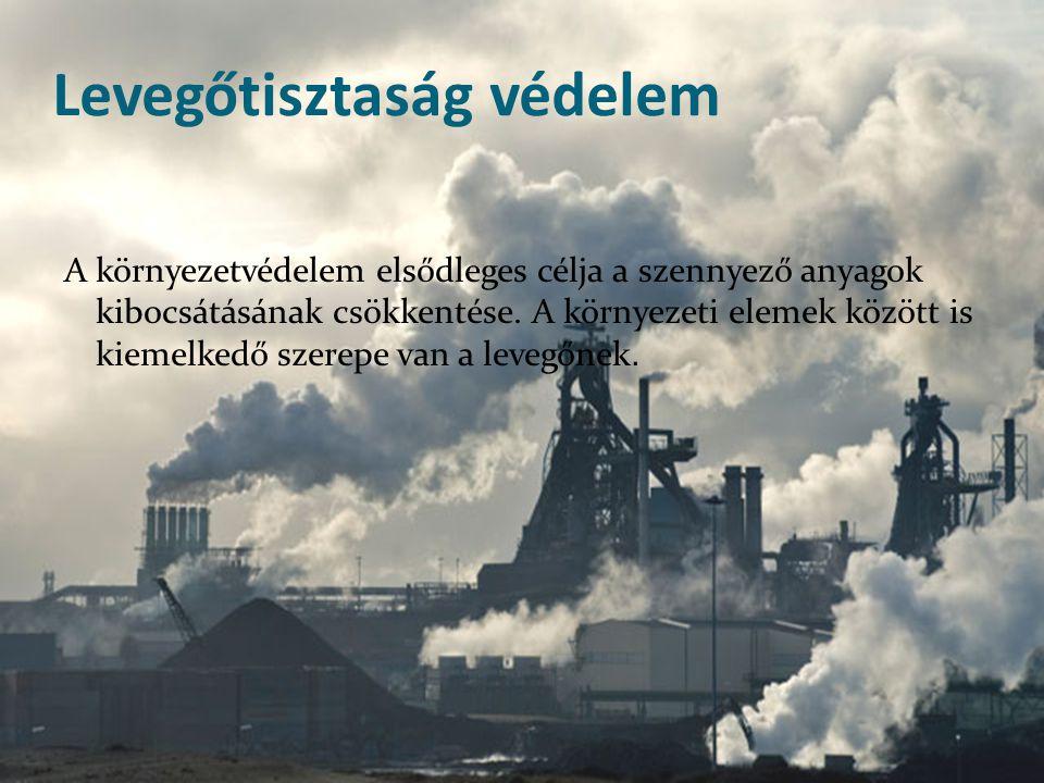 Levegőtisztaság védelem A környezetvédelem elsődleges célja a szennyező anyagok kibocsátásának csökkentése. A környezeti elemek között is kiemelkedő s
