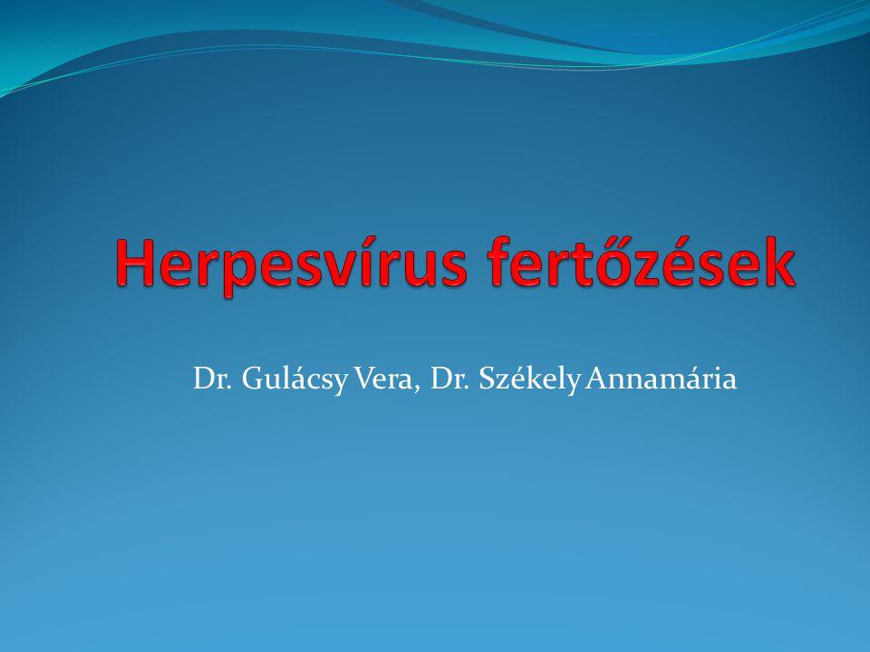 Herpesvírusok Herpes simplex vírus -1(Humán herpesvírus 1, HHV-1) Herpes simplex vírus -2(HHV-2) Varicella-zoster vírus (HHV-3) Cytomegalovírus (HHV-5) Humán herpesvírus 6 (HHV-6A,6B) Humán herpesvírus 7 (HHV-7) Epstein-Barr vírus (HHV-4) Humán herpesvírus 8 (HHV-8) Alfa (Neuronok) Béta (leukocyták) Gamma (Immunrendszer, B-sejtek)