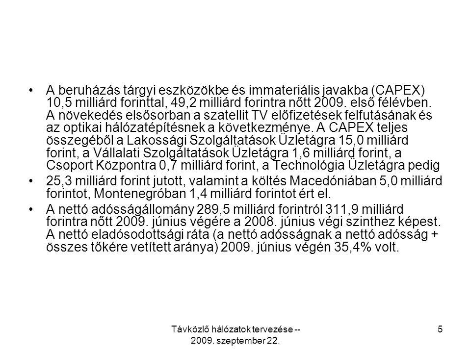 Távközlő hálózatok tervezése -- 2009. szeptember 22. 6