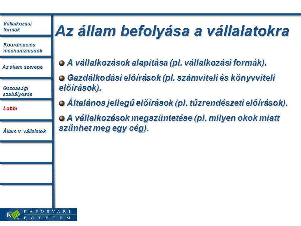 Az állam befolyása a vállalatokra A vállalkozások alapítása (pl.
