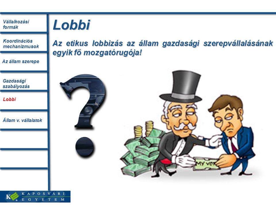 Lobbi Az etikus lobbizás az állam gazdasági szerepvállalásának egyik fő mozgatórugója.