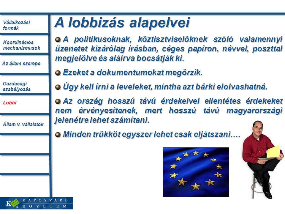 A lobbizás alapelvei A politikusoknak, köztisztviselőknek szóló valamennyi üzenetet kizárólag írásban, céges papíron, névvel, poszttal megjelölve és aláírva bocsátják ki.