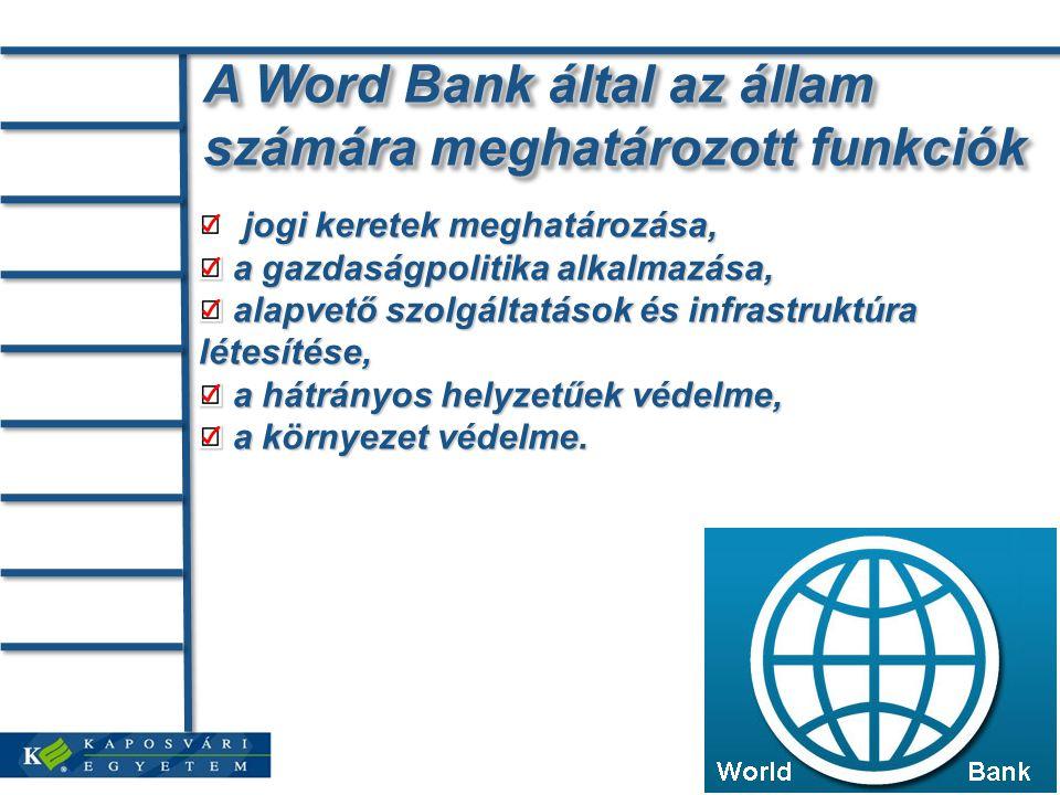 A Word Bank által az állam számára meghatározott funkciók jogi keretek meghatározása, a gazdaságpolitika alkalmazása, a gazdaságpolitika alkalmazása, alapvető szolgáltatások és infrastruktúra létesítése, alapvető szolgáltatások és infrastruktúra létesítése, a hátrányos helyzetűek védelme, a hátrányos helyzetűek védelme, a környezet védelme.