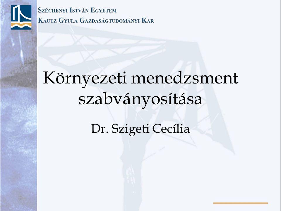 Környezeti menedzsment szabványosítása Dr. Szigeti Cecília