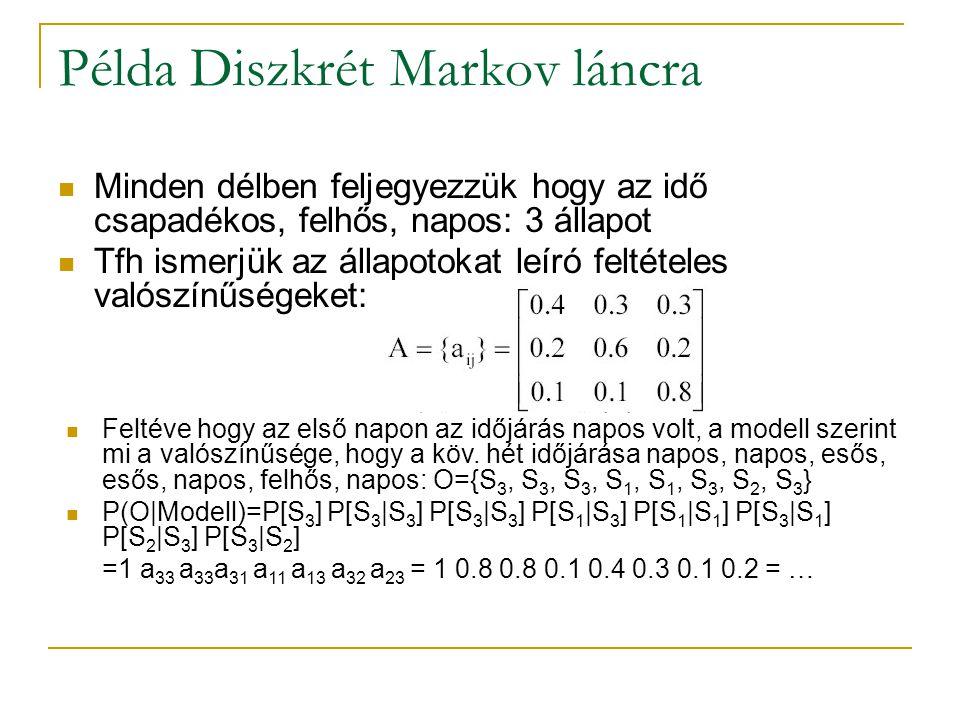 Példa Diszkrét Markov láncra Minden délben feljegyezzük hogy az idő csapadékos, felhős, napos: 3 állapot Tfh ismerjük az állapotokat leíró feltételes