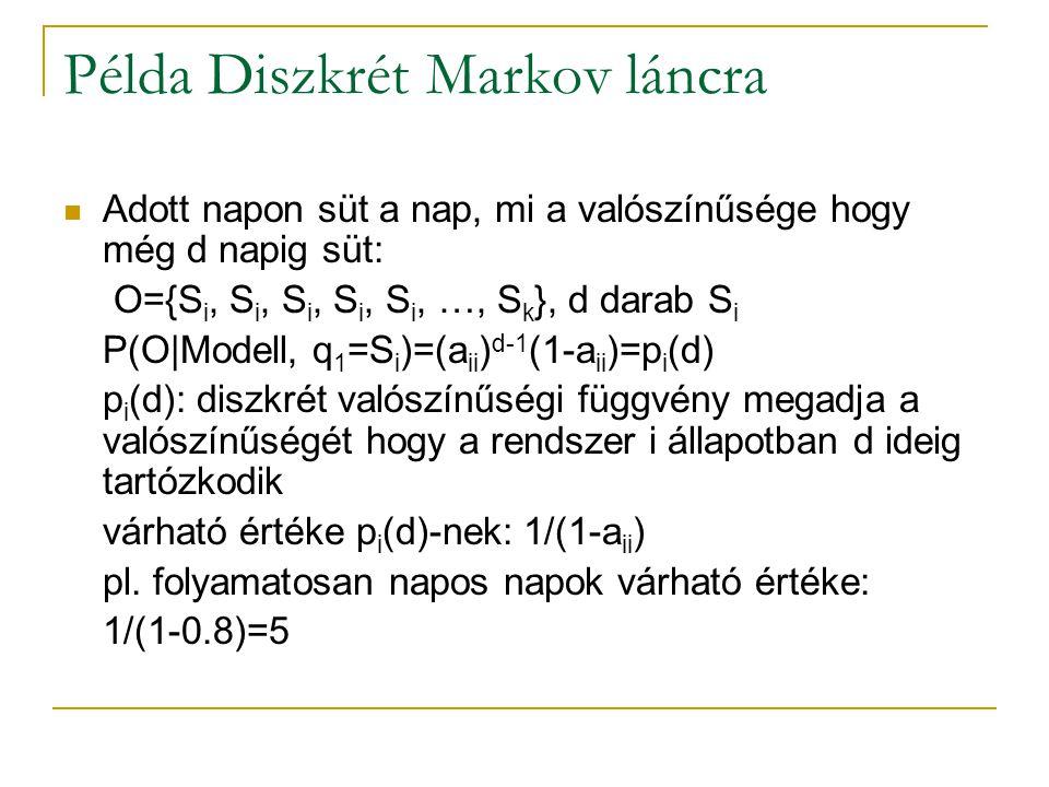 Példa Diszkrét Markov láncra Adott napon süt a nap, mi a valószínűsége hogy még d napig süt: O={S i, S i, S i, S i, S i, …, S k }, d darab S i P(O|Mod