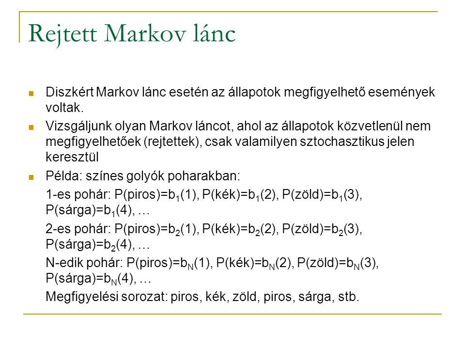 Rejtett Markov lánc Diszkért Markov lánc esetén az állapotok megfigyelhető események voltak. Vizsgáljunk olyan Markov láncot, ahol az állapotok közvet