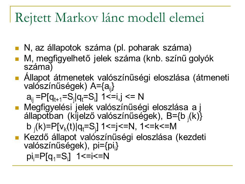 Rejtett Markov lánc modell elemei N, az állapotok száma (pl. poharak száma) M, megfigyelhető jelek száma (knb. színű golyók száma) Állapot átmenetek v