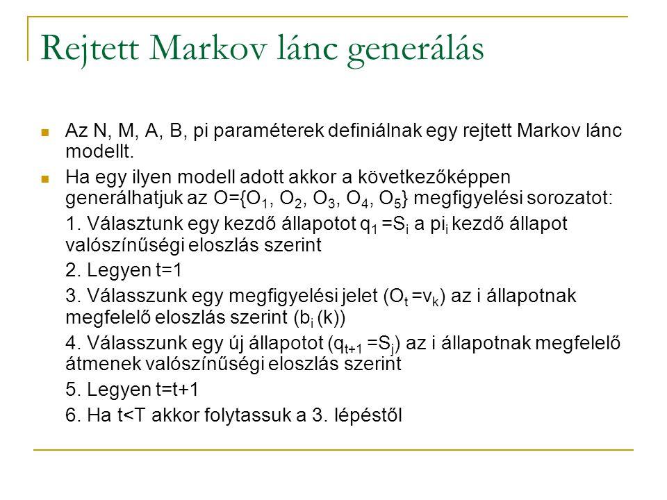 Rejtett Markov lánc generálás Az N, M, A, B, pi paraméterek definiálnak egy rejtett Markov lánc modellt. Ha egy ilyen modell adott akkor a következőké