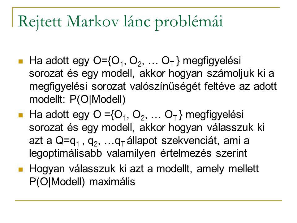Rejtett Markov lánc problémái Ha adott egy O={O 1, O 2, … O T } megfigyelési sorozat és egy modell, akkor hogyan számoljuk ki a megfigyelési sorozat v