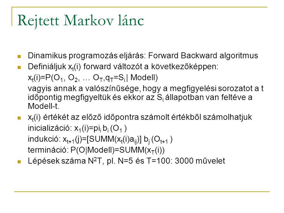 Rejtett Markov lánc Dinamikus programozás eljárás: Forward Backward algoritmus Definiáljuk x t (i) forward változót a következőképpen: x t (i)=P(O 1,