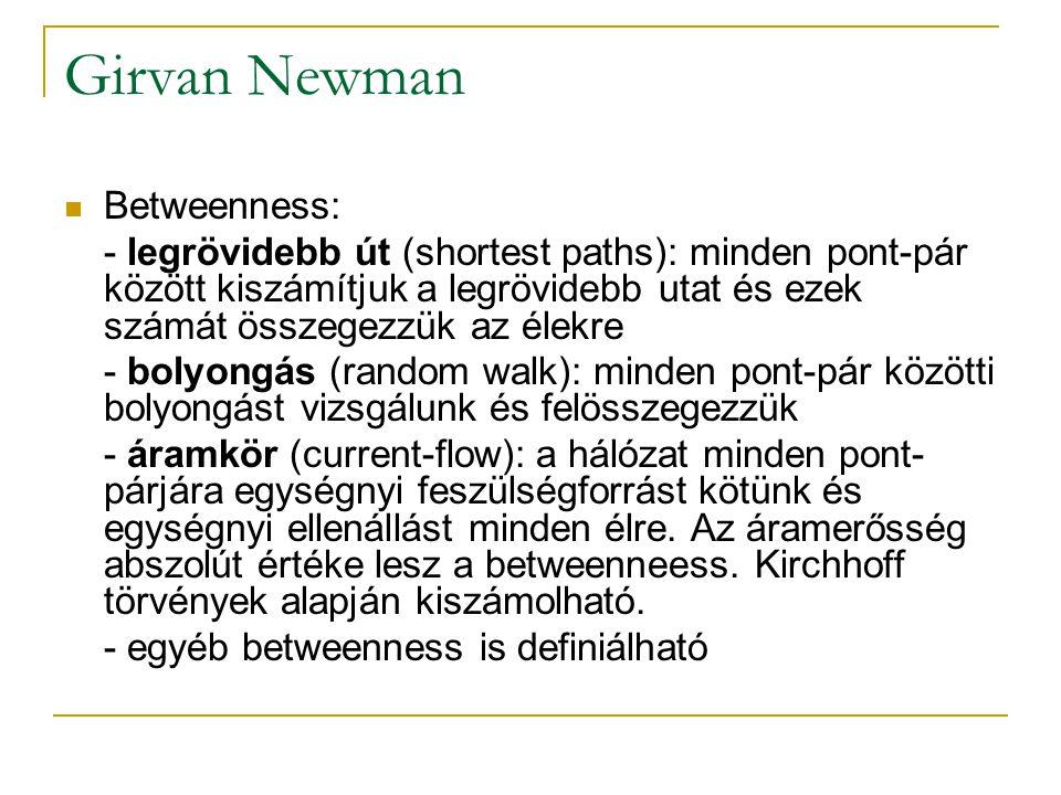 Betweenness: - legrövidebb út (shortest paths): minden pont-pár között kiszámítjuk a legrövidebb utat és ezek számát összegezzük az élekre - bolyongás