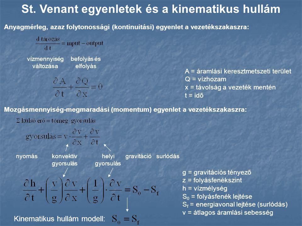 Anyagmérleg, azaz folytonossági (kontinuitási) egyenlet a vezetékszakaszra: St. Venant egyenletek és a kinematikus hullám Mozgásmennyiség-megmaradási