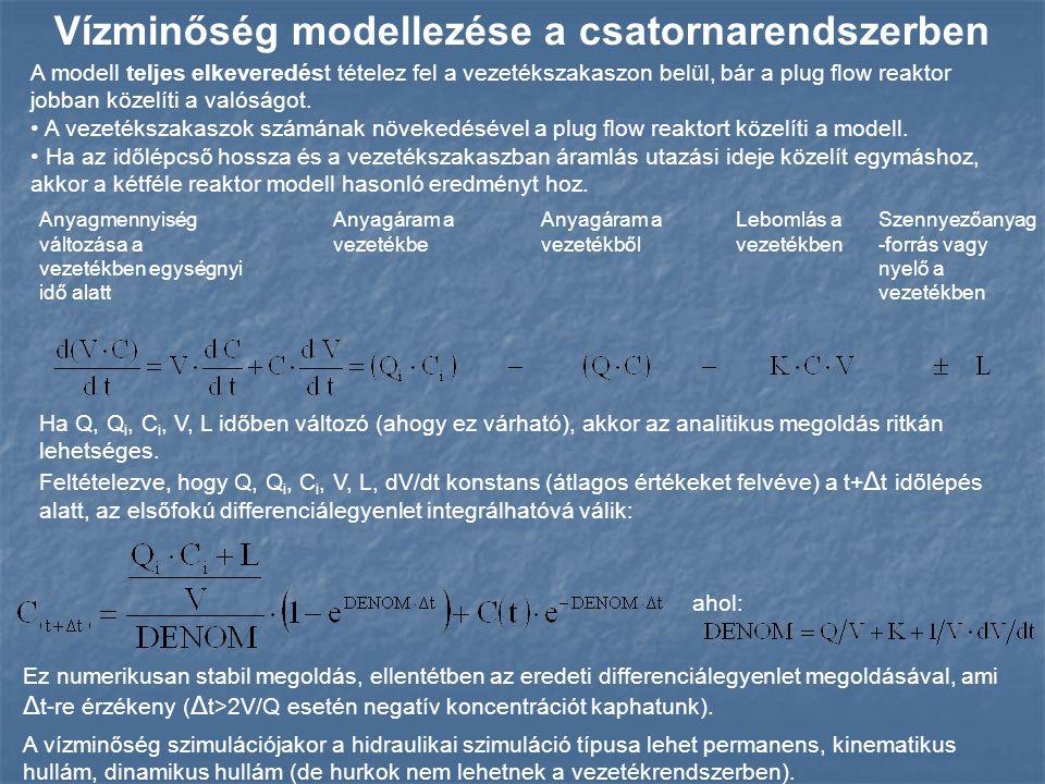 Vízminőség modellezése a csatornarendszerben Anyagmennyiség változása a vezetékben egységnyi idő alatt Anyagáram a vezetékbe Anyagáram a vezetékből Le