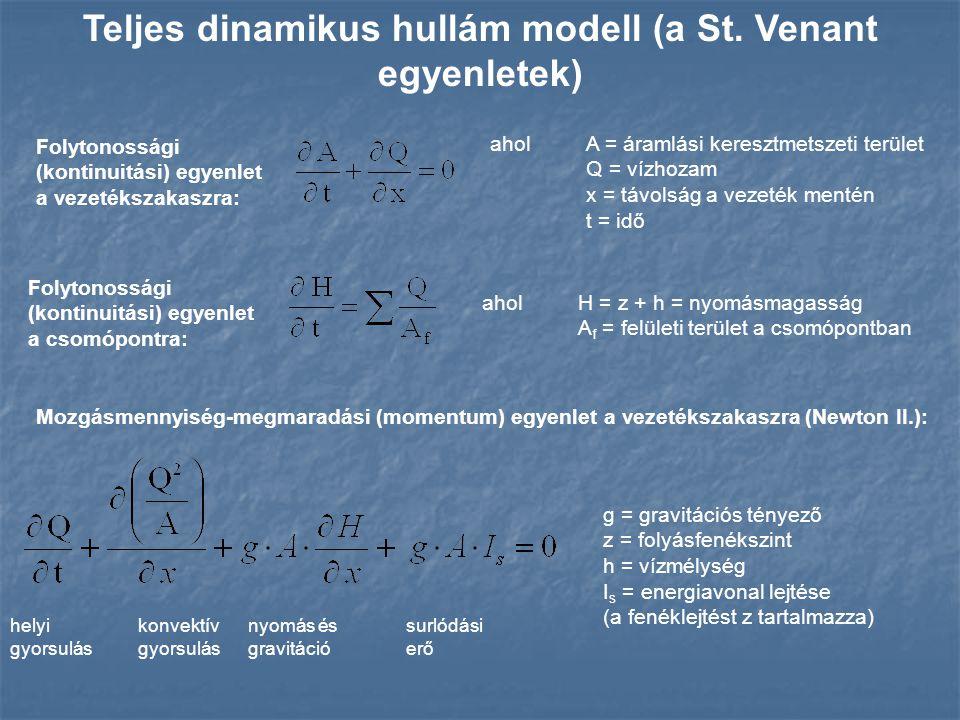 Folytonossági (kontinuitási) egyenlet a vezetékszakaszra: Teljes dinamikus hullám modell (a St. Venant egyenletek) Mozgásmennyiség-megmaradási (moment