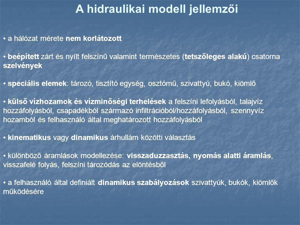 A hidraulikai modell jellemzői a hálózat mérete nem korlátozott beépített zárt és nyílt felszínű valamint természetes (tetszőleges alakú) csatorna sze