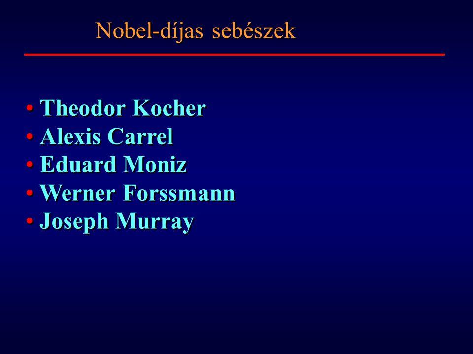 Theodor Kocher Alexis Carrel Eduard Moniz Werner Forssmann Joseph Murray Theodor Kocher Alexis Carrel Eduard Moniz Werner Forssmann Joseph Murray Nobel-díjas sebészek