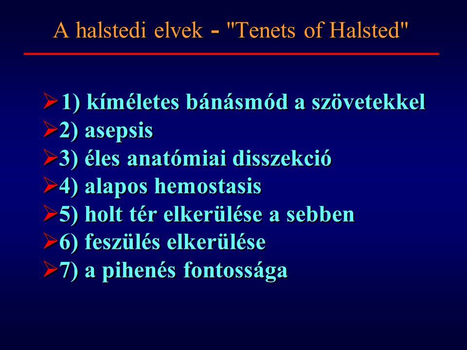  1) kíméletes bánásmód a szövetekkel  2) asepsis  3) éles anatómiai disszekció  4) alapos hemostasis  5) holt tér elkerülése a sebben  6) feszülés elkerülése  7) a pihenés fontossága  1) kíméletes bánásmód a szövetekkel  2) asepsis  3) éles anatómiai disszekció  4) alapos hemostasis  5) holt tér elkerülése a sebben  6) feszülés elkerülése  7) a pihenés fontossága A halstedi elvek - Tenets of Halsted