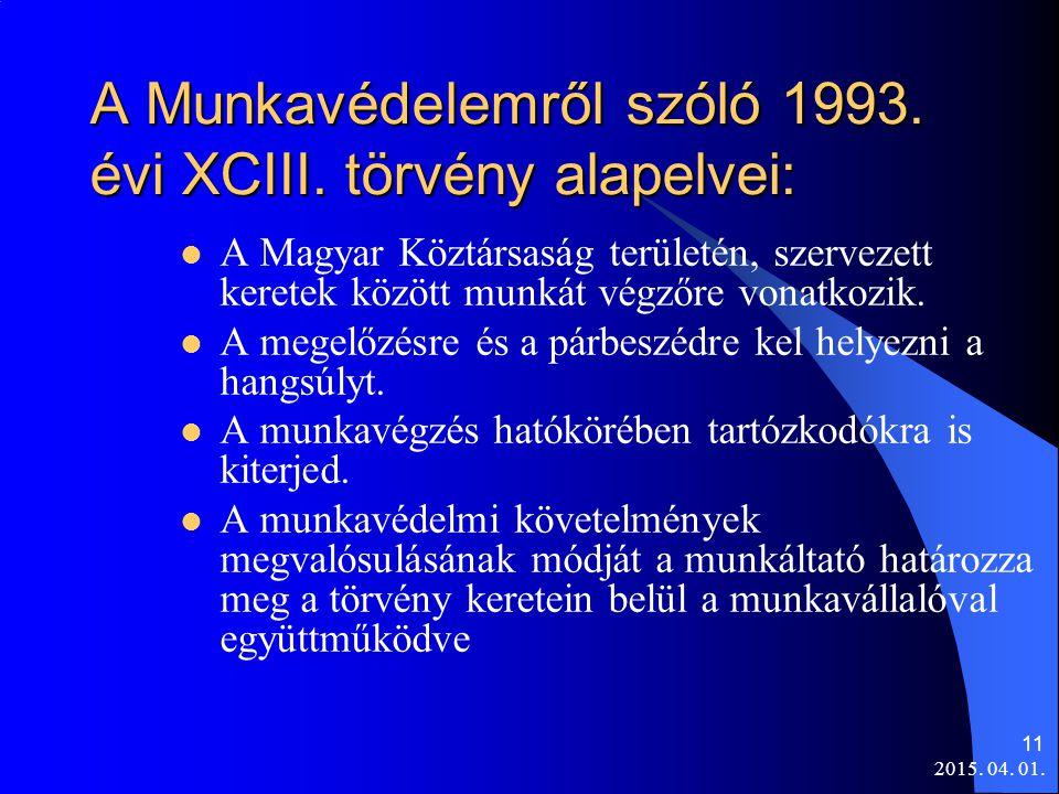 2015. 04. 01. 11 A Munkavédelemről szóló 1993. évi XCIII. törvény alapelvei: A Magyar Köztársaság területén, szervezett keretek között munkát végzőre
