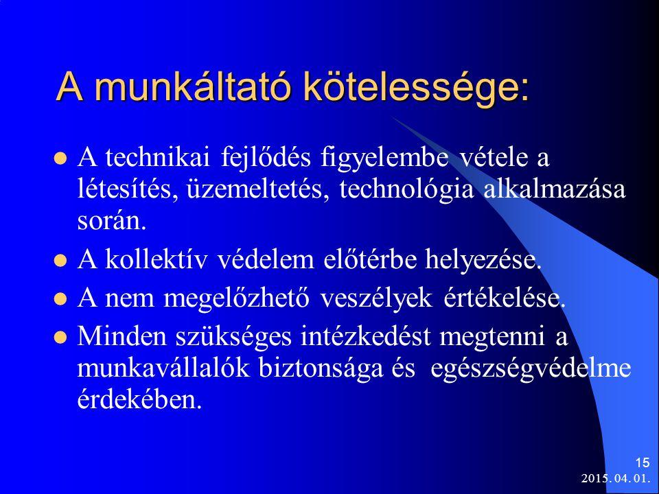 2015. 04. 01. 15 A munkáltató kötelessége: A technikai fejlődés figyelembe vétele a létesítés, üzemeltetés, technológia alkalmazása során. A kollektív