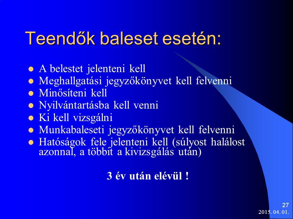 2015. 04. 01. 27 Teendők baleset esetén: A belestet jelenteni kell Meghallgatási jegyzőkönyvet kell felvenni Minősíteni kell Nyilvántartásba kell venn
