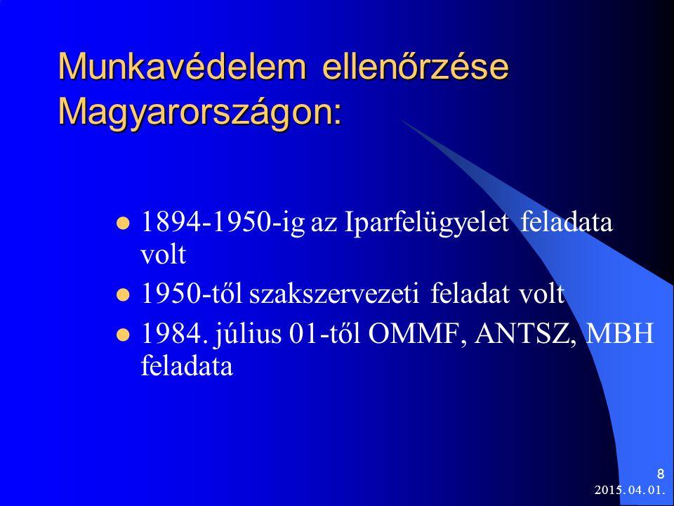 8 Munkavédelem ellenőrzése Magyarországon: 1894-1950-ig az Iparfelügyelet feladata volt 1950-től szakszervezeti feladat volt 1984. július 01-től OMMF,