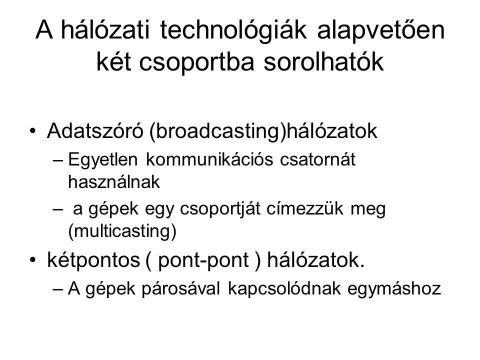 A hálózati technológiák alapvetően két csoportba sorolhatók Adatszóró (broadcasting)hálózatok –Egyetlen kommunikációs csatornát használnak – a gépek e