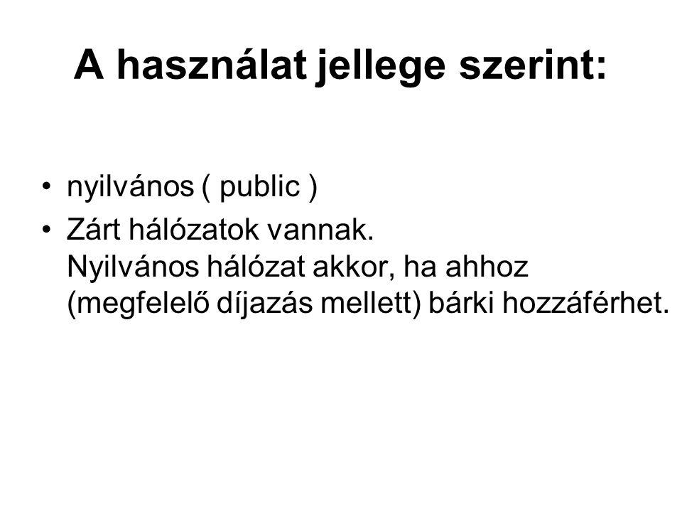 A használat jellege szerint: nyilvános ( public ) Zárt hálózatok vannak. Nyilvános hálózat akkor, ha ahhoz (megfelelő díjazás mellett) bárki hozzáférh