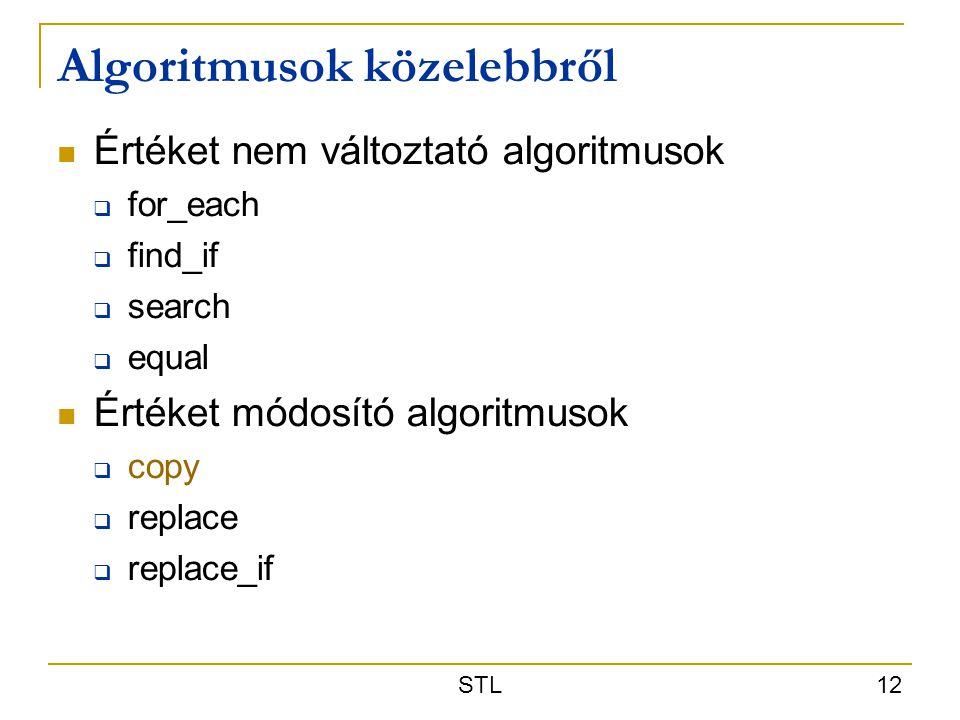 STL 12 Algoritmusok közelebbről Értéket nem változtató algoritmusok  for_each  find_if  search  equal Értéket módosító algoritmusok  copy  repla