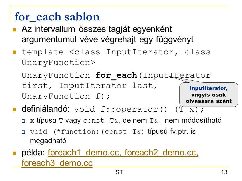 STL 13 for_each sablon Az intervallum összes tagját egyenként argumentumul véve végrehajt egy függvényt template UnaryFunction for_each(InputIterator