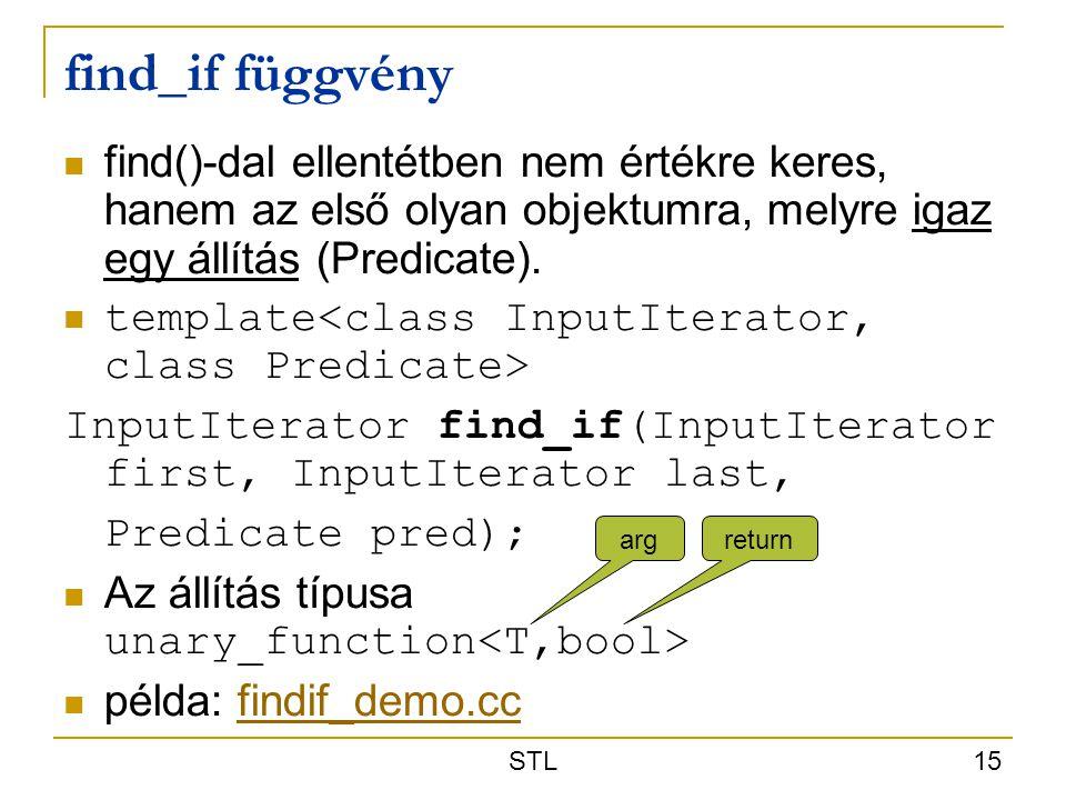 STL 15 find_if függvény find()-dal ellentétben nem értékre keres, hanem az első olyan objektumra, melyre igaz egy állítás (Predicate). template InputI