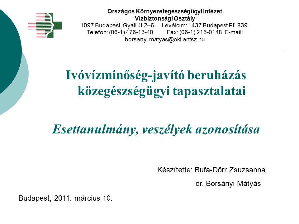 Előzmények - 1 Magyarországi ivóvizek minősége Kifogásolt paraméterek: As, NH 3, NO 2, Fe, Mn, B, F, mikrobiológia, mikroszkópos biológia Derogáció: As, B, F 2009.