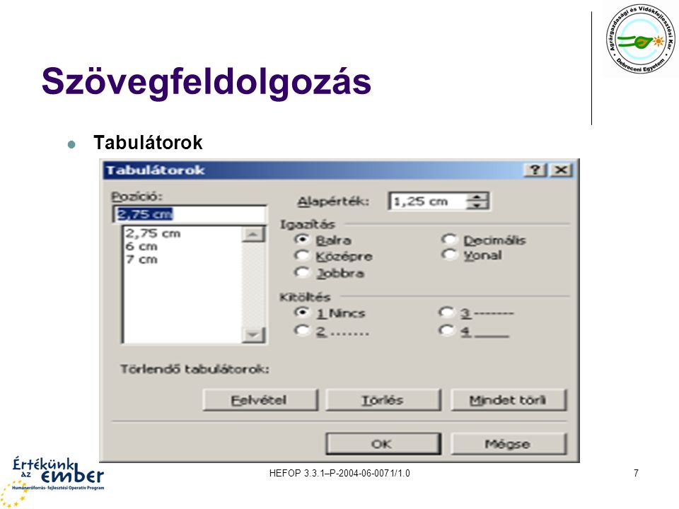 HEFOP 3.3.1–P-2004-06-0071/1.08 Szövegfeldolgozás Élőfej és élőláb Eltérő élőfej létrehozása az első oldalon Nézet\élőfej és élőláb; oldalbeállítás; elrendezés; első oldal eltérő; ok Eltérő élőfej létrehozása páros és páratlan oldalon Nézet\élőfej és élőláb; oldalbeállítás; elrendezés; páros és páratlan eltérő; ok