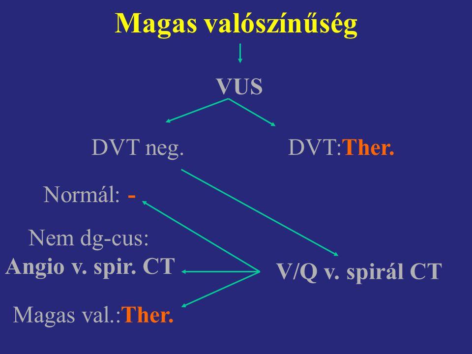 Magas valószínűség VUS DVT:Ther.DVT neg. V/Q v. spirál CT Normál: - Nem dg-cus: Angio v. spir. CT Magas val.:Ther.