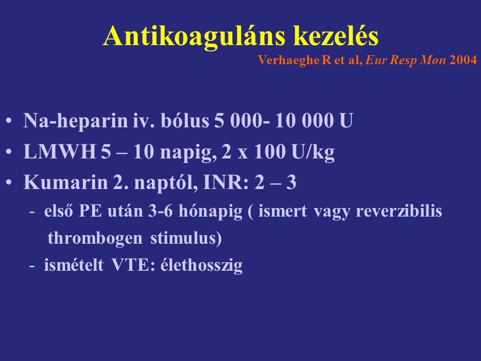Antikoaguláns kezelés Na-heparin iv. bólus 5 000- 10 000 U LMWH 5 – 10 napig, 2 x 100 U/kg Kumarin 2. naptól, INR: 2 – 3 -első PE után 3-6 hónapig ( i