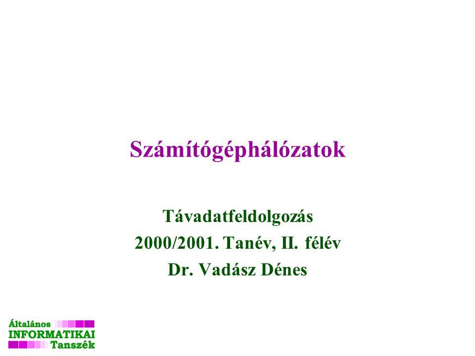 Számítógéphálózatok Távadatfeldolgozás 2000/2001. Tanév, II. félév Dr. Vadász Dénes