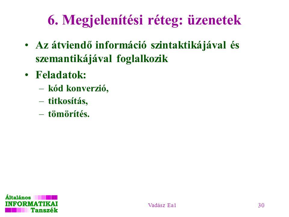 Vadász Ea1 30 6. Megjelenítési réteg: üzenetek Az átviendő információ szintaktikájával és szemantikájával foglalkozik Feladatok: –kód konverzió, –titk