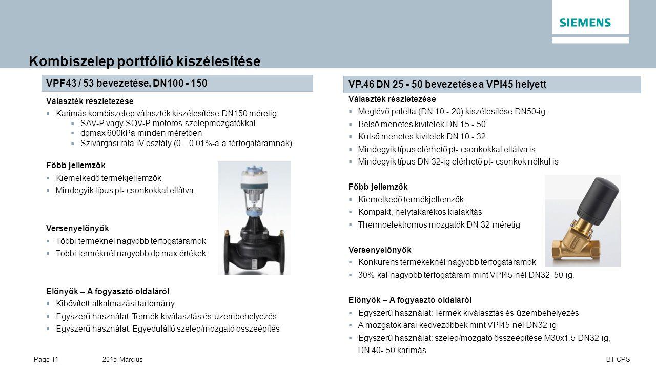 2015 MárciusPage 11 BT CPS Kombiszelep portfólió kiszélesítése VP.46 DN 25 - 50 bevezetése a VPI45 helyett Választék részletezése  Meglévő paletta (DN 10 - 20) kiszélesítése DN50-ig.