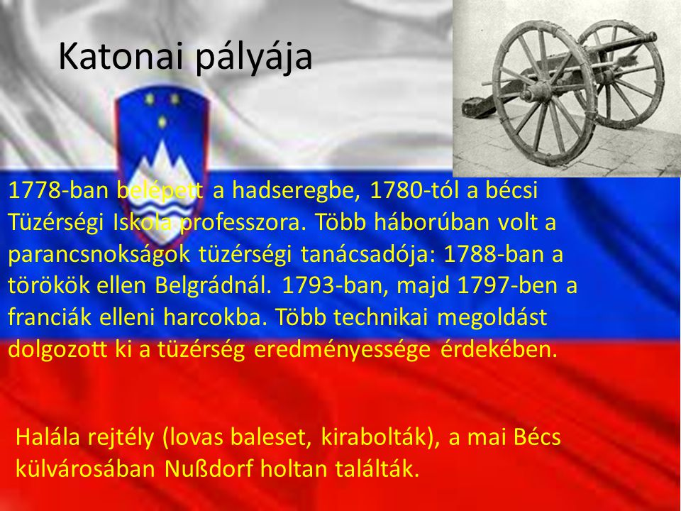 Katonai pályája 1778-ban belépett a hadseregbe, 1780-tól a bécsi Tüzérségi Iskola professzora. Több háborúban volt a parancsnokságok tüzérségi tanácsa
