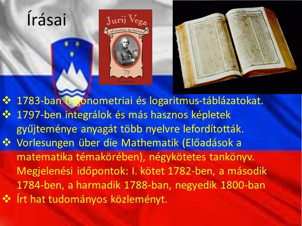 Írásai  1783-ban trigonometriai és logaritmus-táblázatokat.
