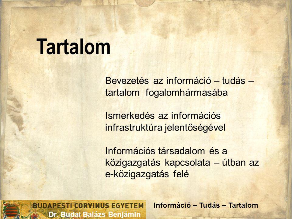 Tartalom Dr. Budai Balázs Benjámin Bevezetés az információ – tudás – tartalom fogalomhármasába Ismerkedés az információs infrastruktúra jelentőségével
