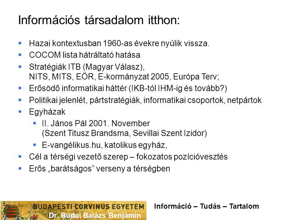 Információs társadalom itthon:  Hazai kontextusban 1960-as évekre nyúlik vissza.  COCOM lista hátráltató hatása  Stratégiák ITB (Magyar Válasz), NI