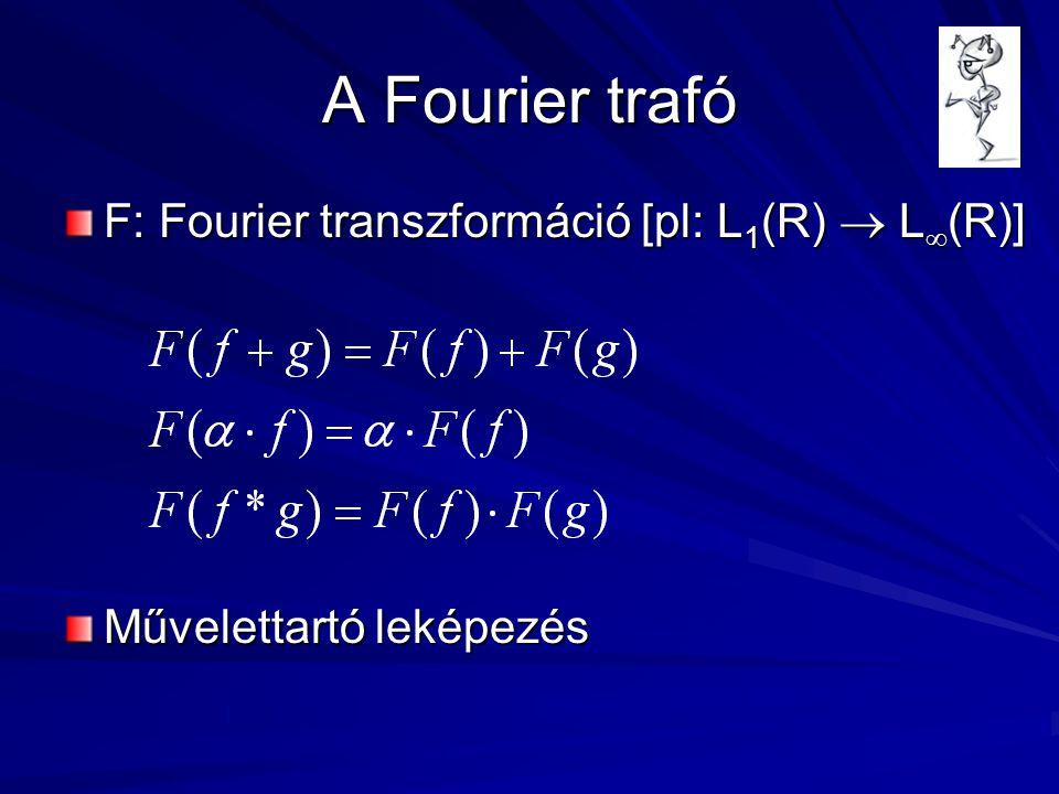 A Fourier trafó F: Fourier transzformáció [pl: L 1 (R)  L  (R)] Művelettartó leképezés