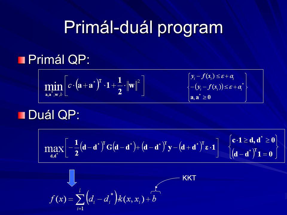 Primál-duál program Primál QP: Duál QP: KKT