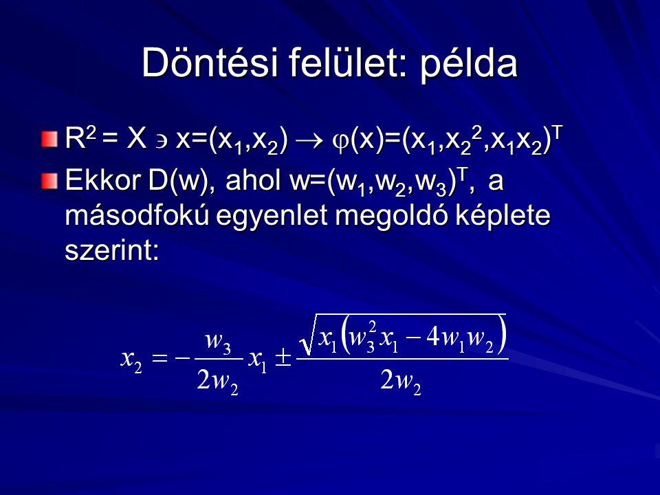 Döntési felület: példa R 2 = X  x=(x 1,x 2 )   (x)=(x 1,x 2 2,x 1 x 2 ) T Ekkor D(w), ahol w=(w 1,w 2,w 3 ) T, a másodfokú egyenlet megoldó képlete szerint:
